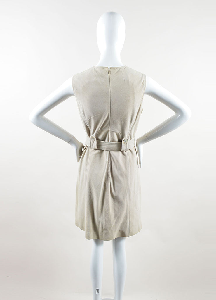 Michael Kors Taupe Suede Belted Sleeveless Dress Backview