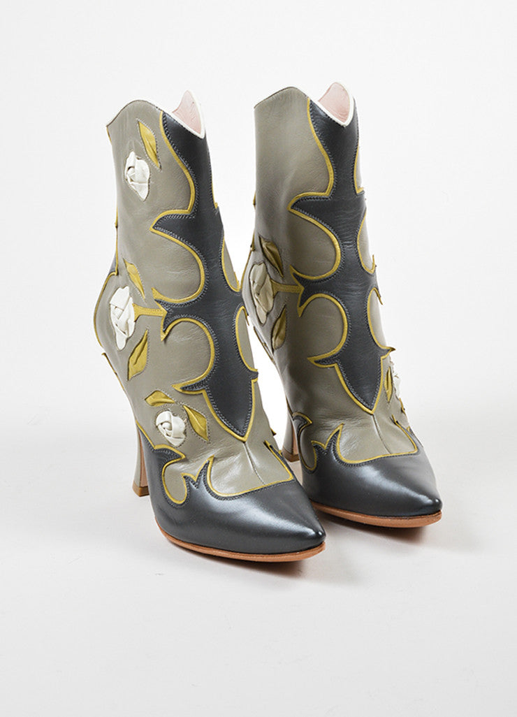 Miu Miu Grey, Yellow, and Cream Leather Floral Western Heeled Boots Frontview
