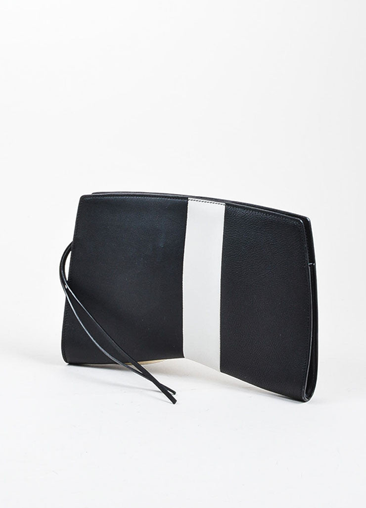 "Black and Grey Narciso Rodriguez Leather Stripe Zip ""Boomerang"" Clutch Bag Backview"