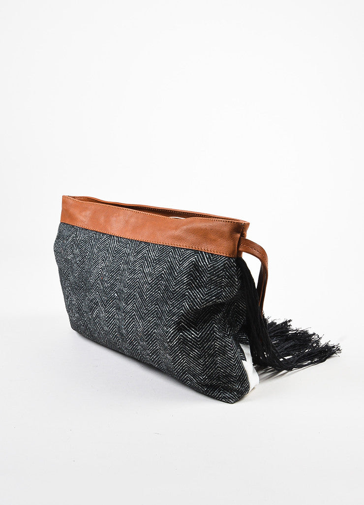 Pomandere Black, Brown, and White Canvas and Leather Fringed Herringbone Clutch Sideview