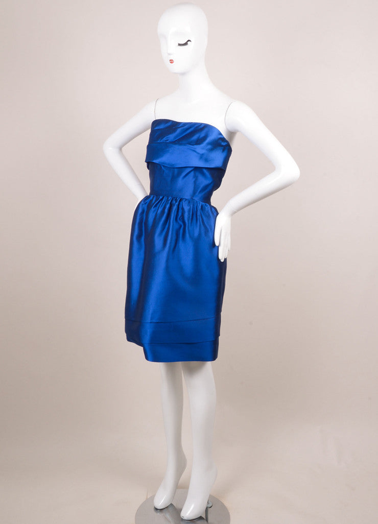 Prabal Gurung Royal Blue Tiered Strapless Short Cocktail Dress Sideview