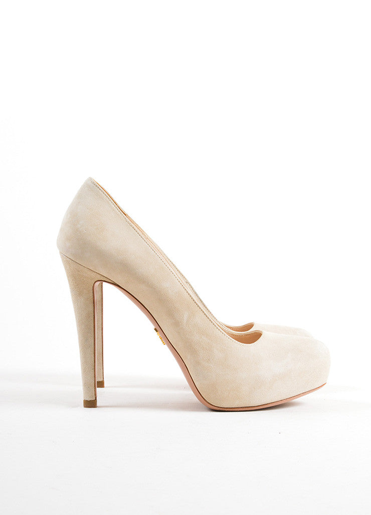 Prada Beige Suede Leather Hidden Platform Almond Toe Pumps Sideview