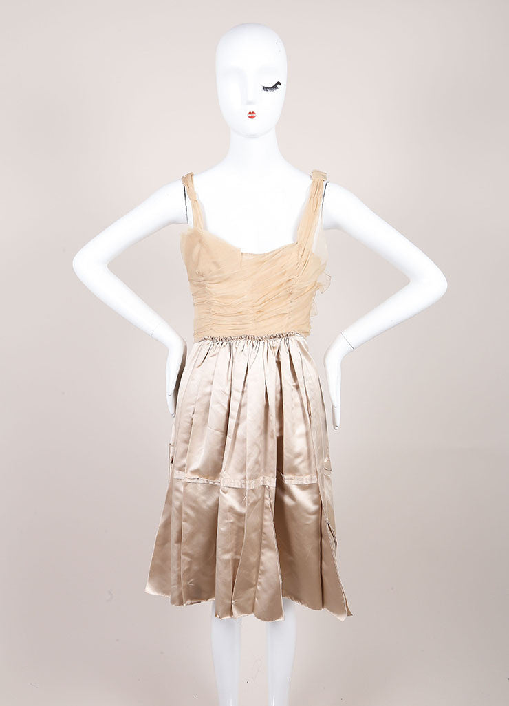Prada Champagne and Taupe Satin Chiffon Ruched Flared Sleeveless Dress Frontview
