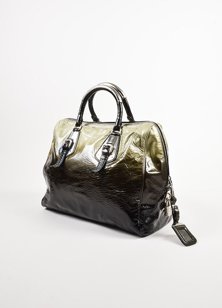 "Prada Olive Green and Black Patent Leather Ombre ""Sfumato"" Satchel Bag Sideview"