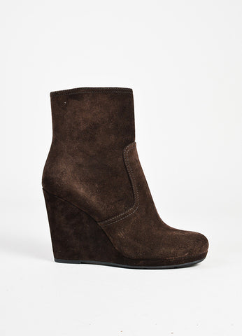 Prada Sport Brown Suede Wedge Ankle Boots side