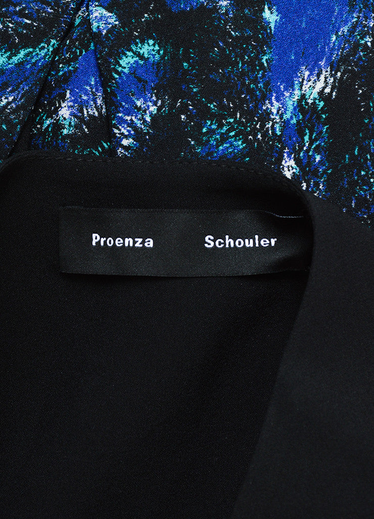 Black, Cobalt Blue, and Green Proenza Schouler Silk Printed Long Sleeve Pleated Dress Brand