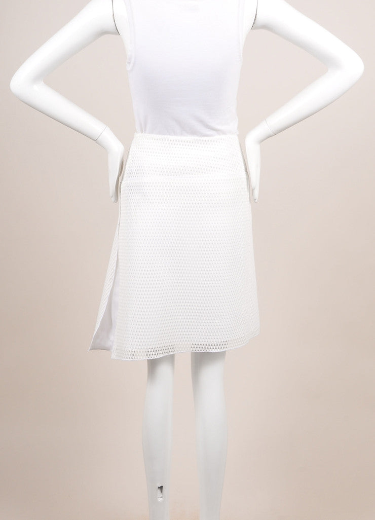 "Reed Krakoff New With Tags White Knit Mesh Fishnet ""Honeycomb"" Skater Skirt Backview"