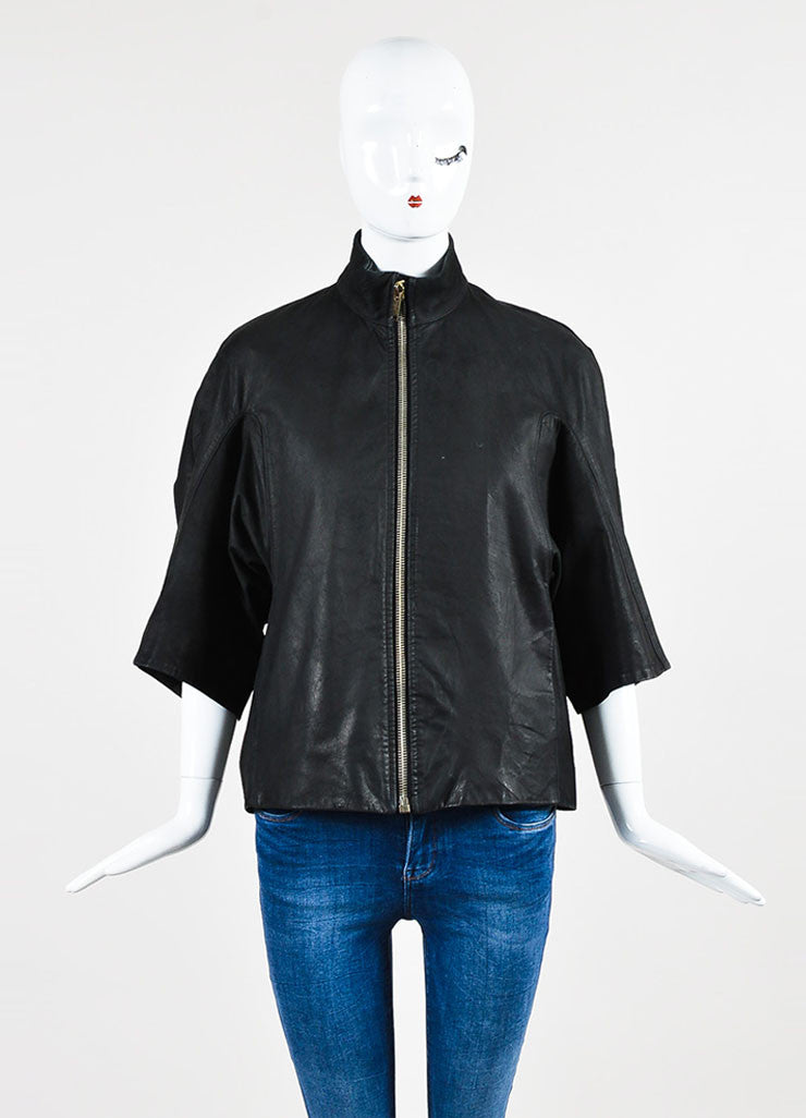 ¥éËRick Owens Black Leather Cropped Sleeve Wide Zip Jacket Frontview 2