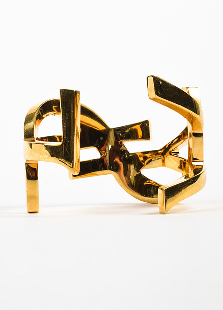 Gold Tone Saint Laurent Signature Monogram Cuff Bracelet Back