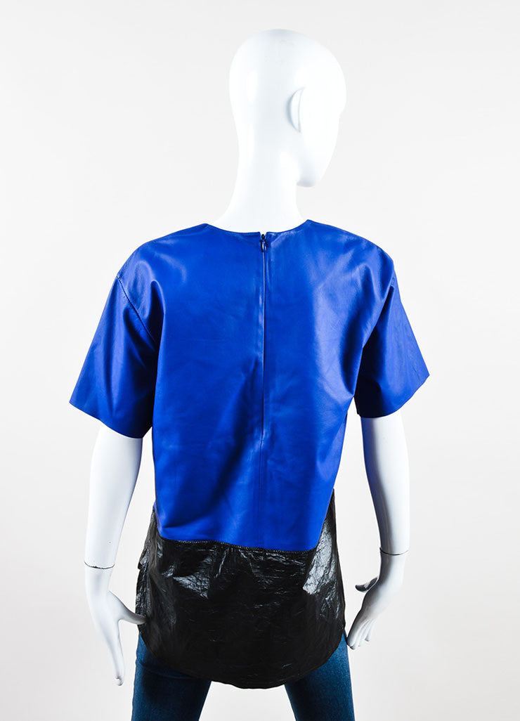 T Alexander Wang Blue Black Leather Textured Tyvek Tunic Top  Back