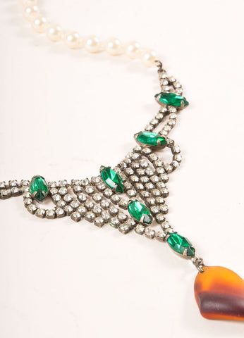Tom Binns White, Green, and Brown Faux Pearl and Rhinestone Drop Statement Necklace Detail