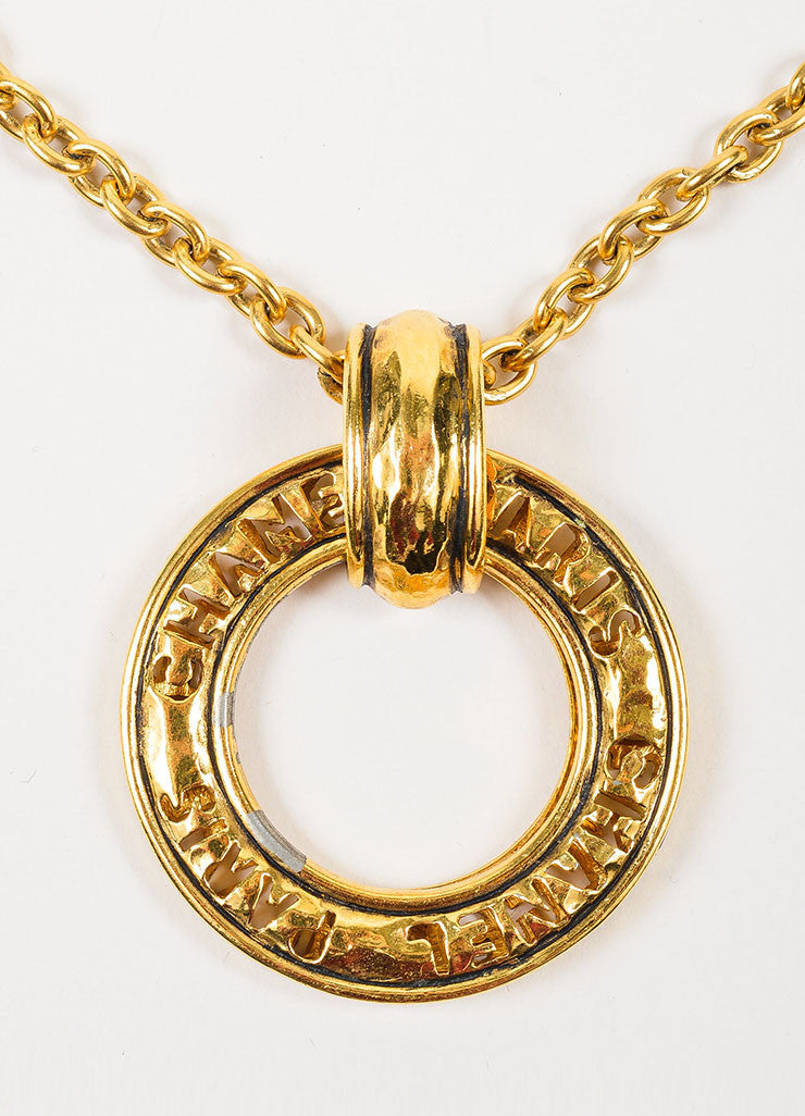 Gold Toned Chanel Hammer Ring Pendant Long Chain Necklace Detail