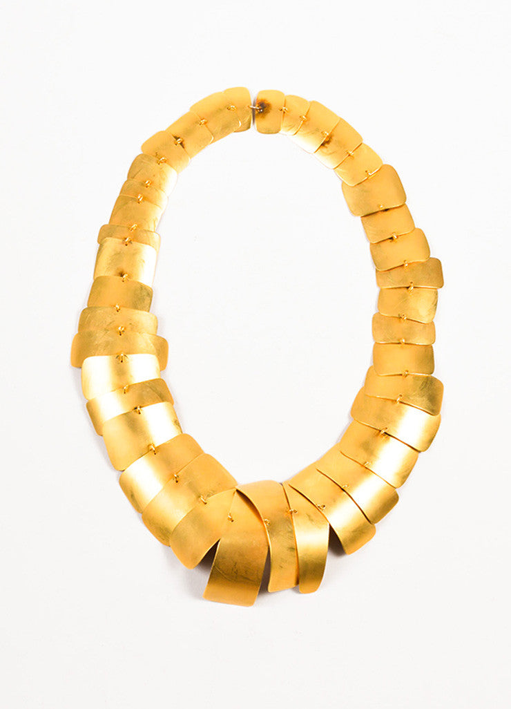 Gold Toned Plated Metal Geometric Layered Statement Necklace Frontview