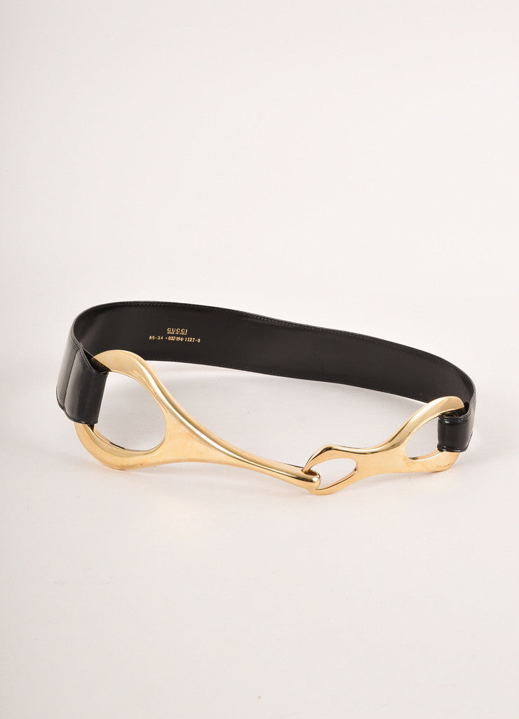 Gucci Black and Gold Toned Oversized Abstract Buckle Leather Belt Frontview