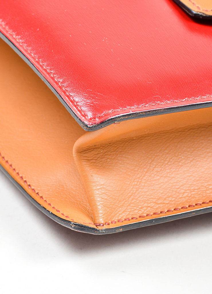"Red, Maroon, and Tan Hermes Leather Color Block ""Baccara"" Envelope Clutch Detail"