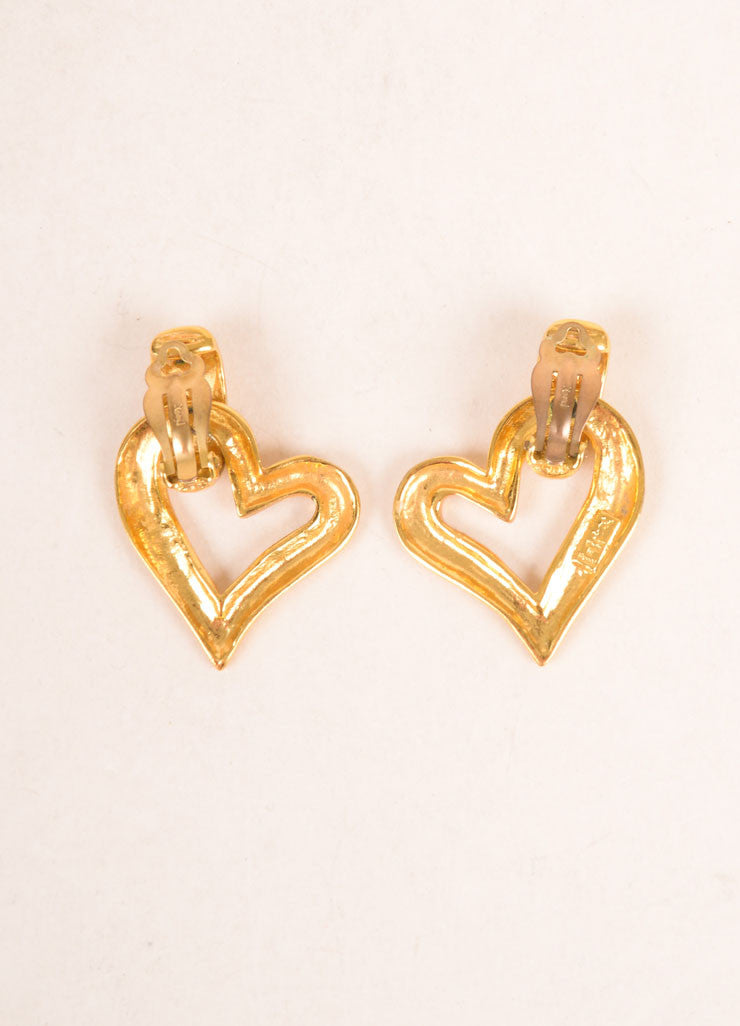 Yves Saint Laurent Gold Toned Open Heart Earrings Backview