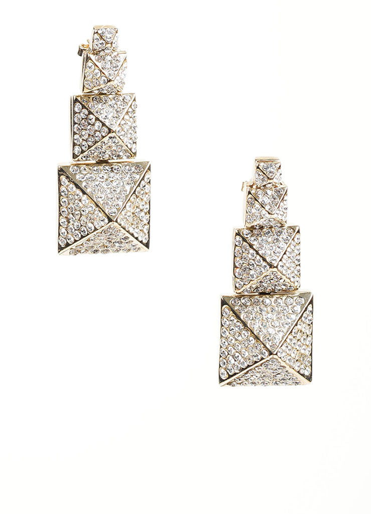 Gold Toned Pave Rhinestone Valentino Tiered Pyramid Drop Earrings Frontview