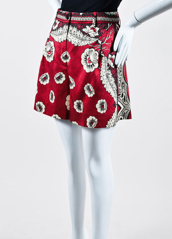 Red, Cream, and Black Valentino Floral Print High Waisted Silk Shorts Sideview