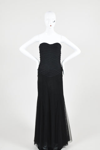 Black Vera Wang Layered Tulle Paneled Strapless Evening Gown Frontview