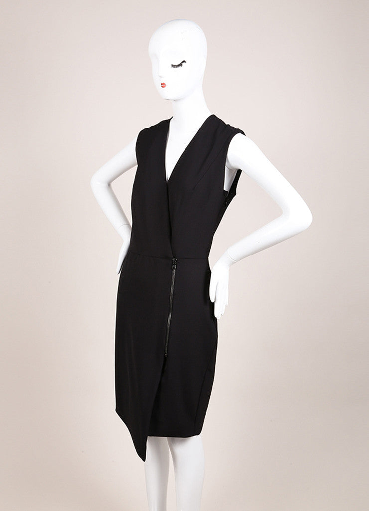 Veronica Beard New With Tags Black Nylon Scuba Zip Front Sleeveless Dress Sideview