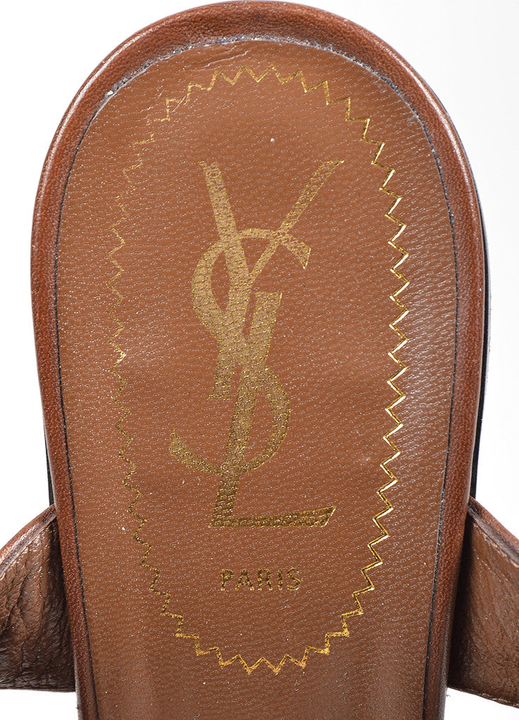 "Brown Yves Saint Laurent Leather and Linen Platform ""Flirty"" Sandals Brand"