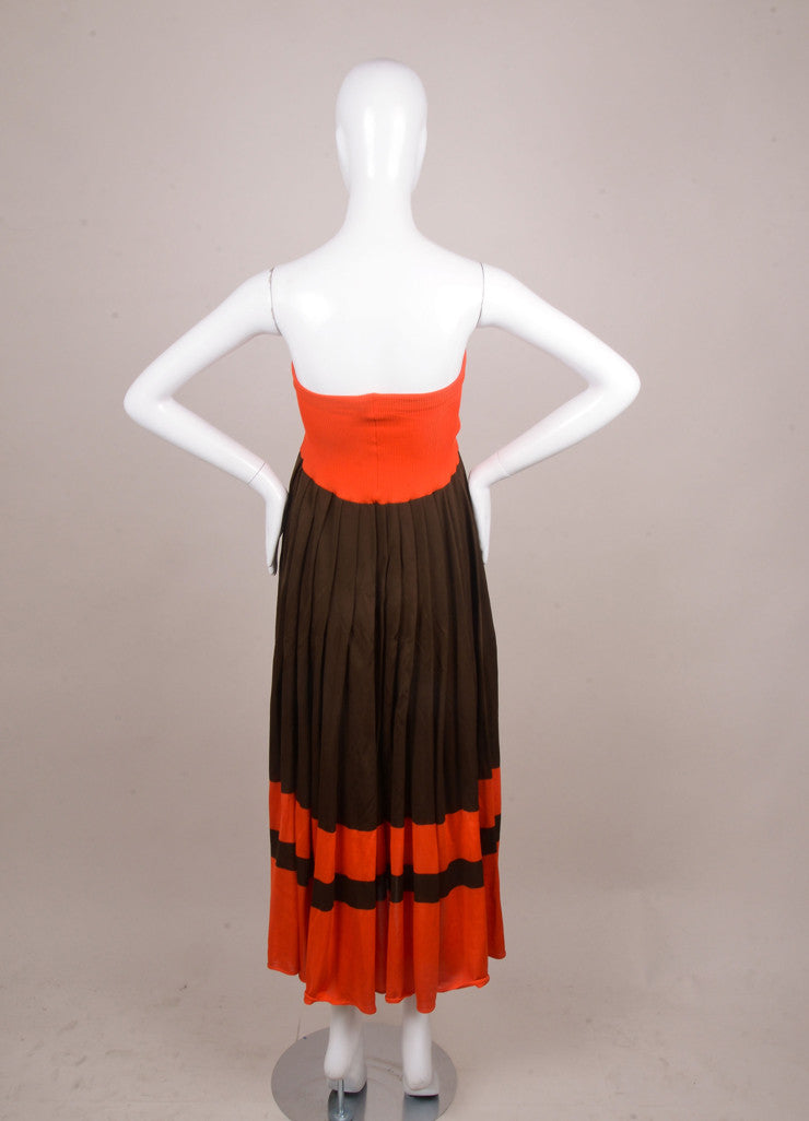 Red and Brown Issey Miyake Striped Convertible Knit Dress