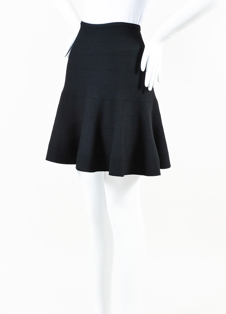 Alaia Black Wool Knit Flare Skirt Sideview