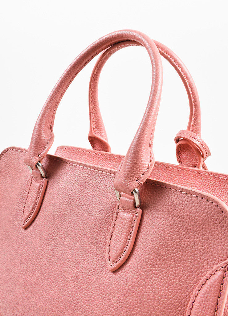 Pink Alexander McQueen Grained Leather Small Padlock Satchel Bag Detail 3