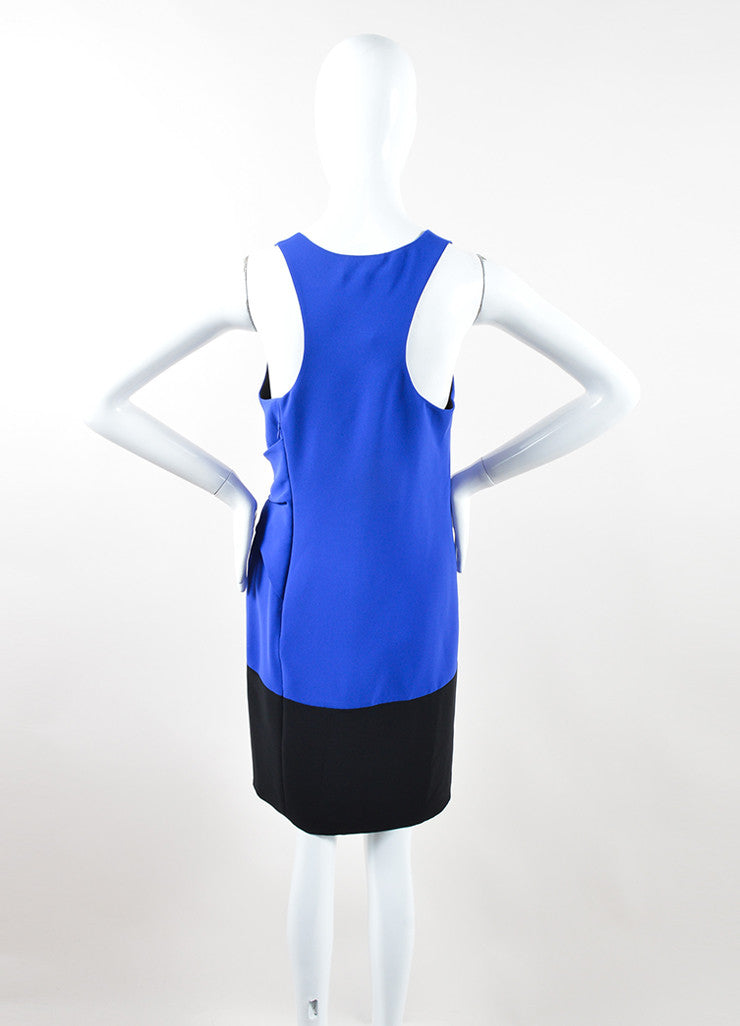 Alexander Wang Sapphire Blue Black Racerback Drape Dress Backview