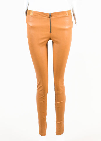 Tan Alice + Olivia Leather Skinny Leggings Front