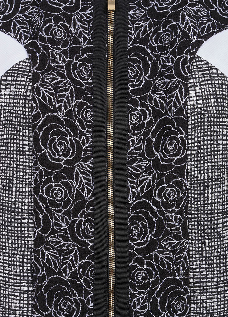 Andrew Gn New With Tags Black and White Tweed Floral Embroidered Sleeveless Dress Detail