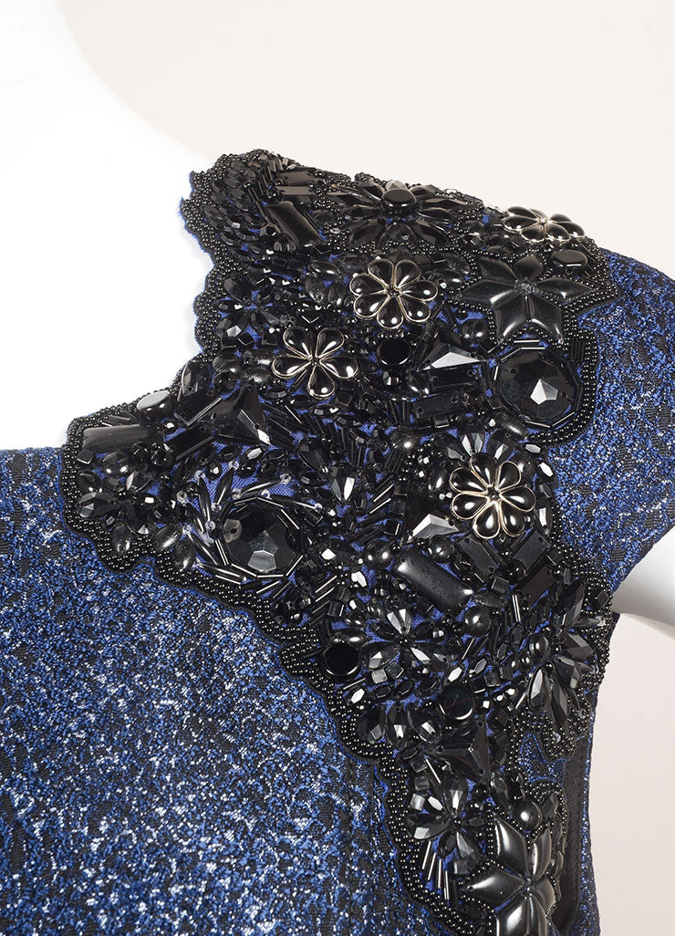 Andrew Gn New With Tags Metallic Blue and Black Cotton Beaded Shoulder Dress Detail