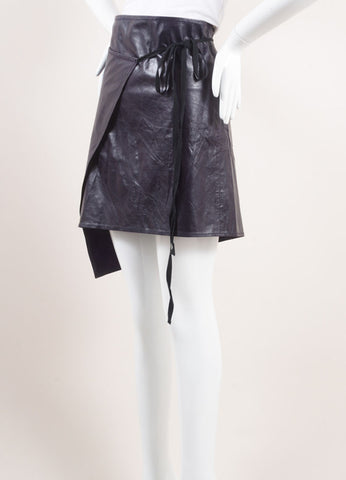 Ann Demeulemeester Dark Purple Leather Wrap Skirt Sideview