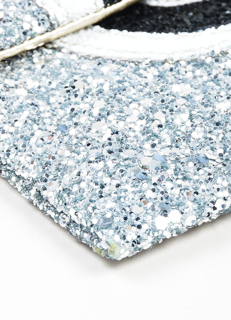 "Silver Glitter Anya Hindmarch Embellished Cloud ""Valorie"" Clutch Bag Detail"