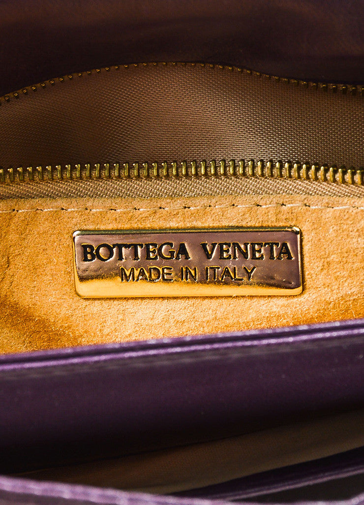 Bottega Veneta Purple Woven Leather Shoulder Flap Bag Brand