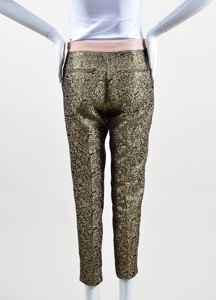 "Gold Metallic and Blush By Malene Birger Jacquard Cropped ""Cortensa"" Pants Backview"