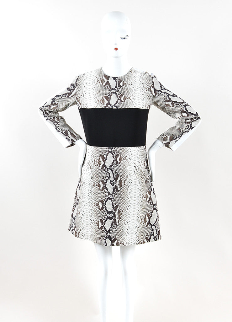 Carven Black, Grey, and White Python Print Long Sleeve Dress Frontview