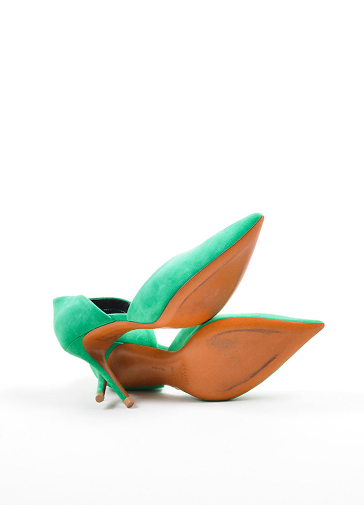 Green Celine Suede Pointed Toe D'Orsay 90mm Pumps Outsoles