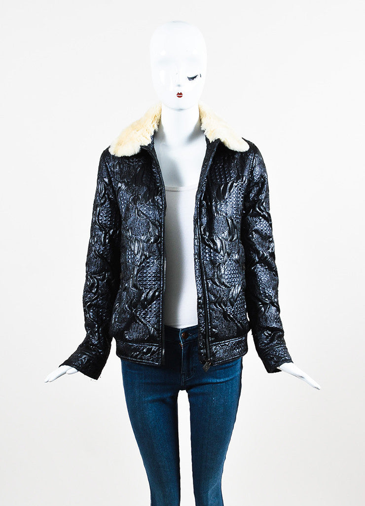 Chanel Blue, Black, and Cream Orlyag Fur Collar Textured Bomber Jacket Frontview