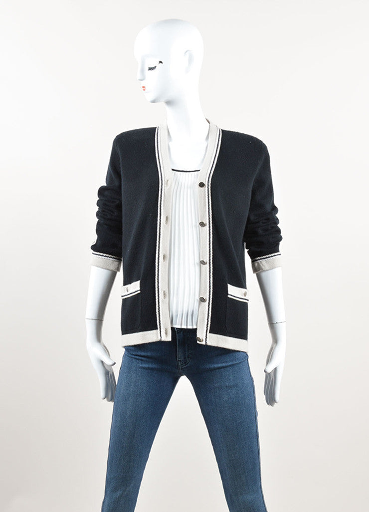 "Chanel Black and Beige Cashmere ""CC"" Button Cardigan Sweater Frontview"