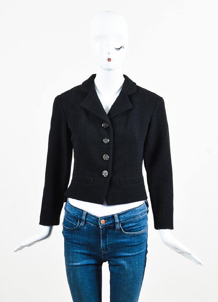 Chanel Black Wool Blend Boucle Rhinestone 'CC' Buttons Jacket Frontview 2