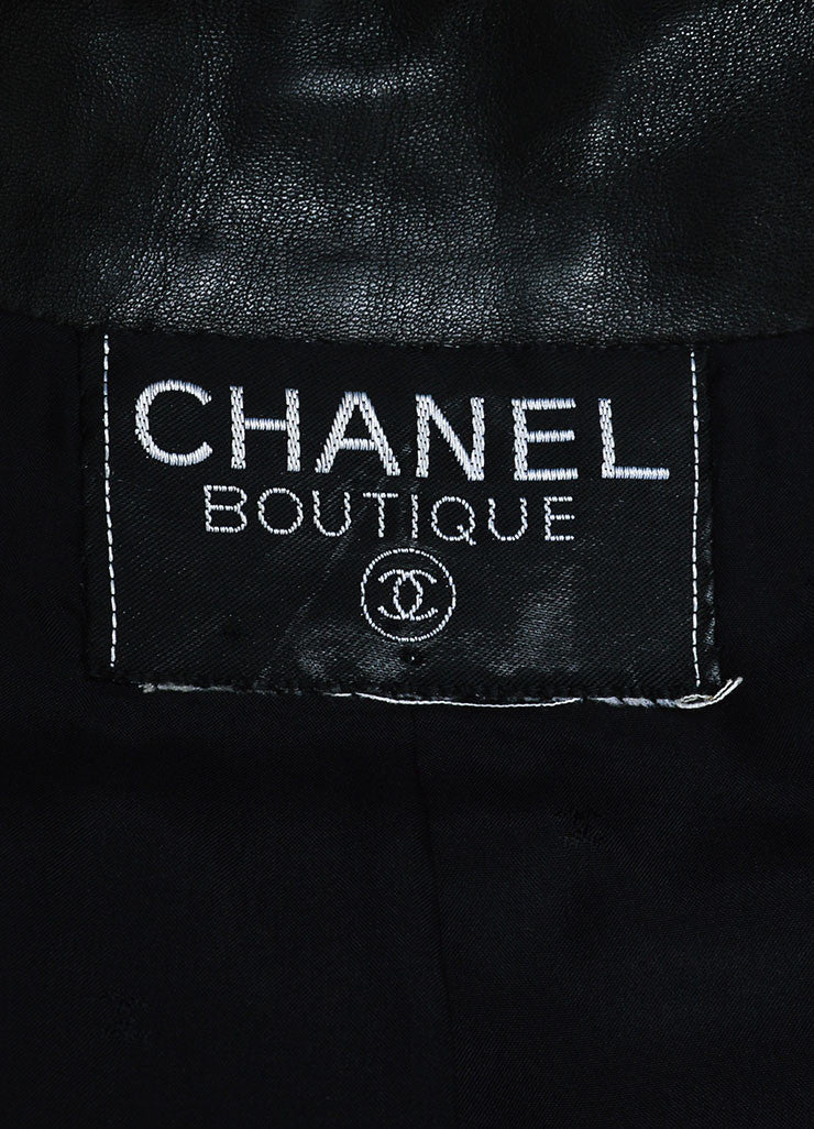 Chanel Black and Gold Metallic Ribbon Trim Buttoned Leather Jacket Brand