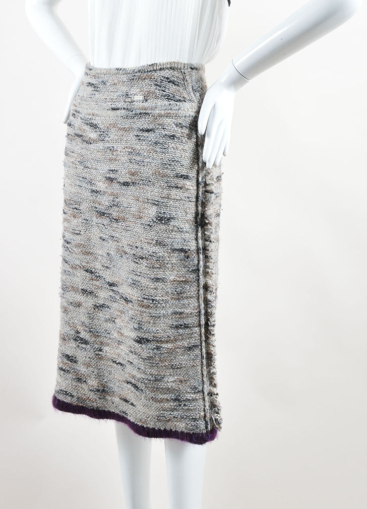 Chanel Grey and Purple Stretch Wool Fringe Pencil Skirt Sideview