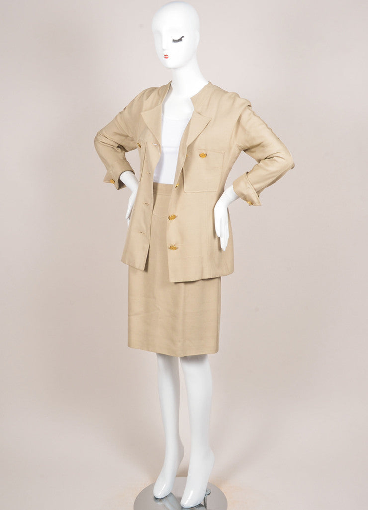 Chanel Khaki Gold Toned Coin Button Skirt Suit Sideview