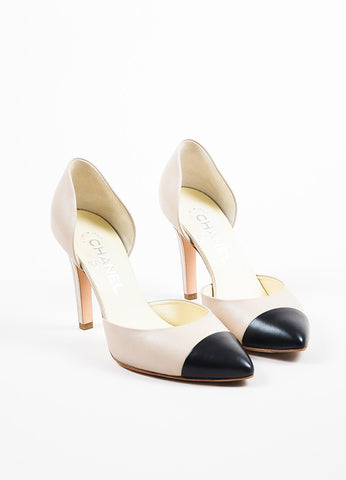 Chanel Taupe and Black Leather Cap Toe Metal Accent D'Orsay Pumps Frontview