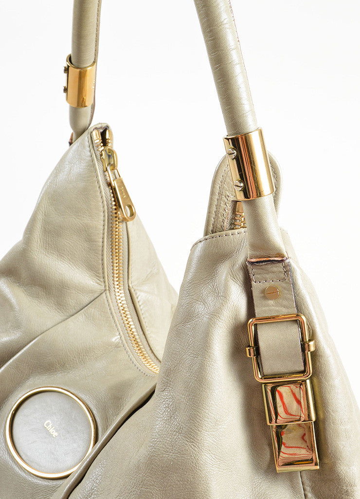 "Chloe Grey Leather Zipper Large ""Ethel"" Hobo Bag Detail 2"