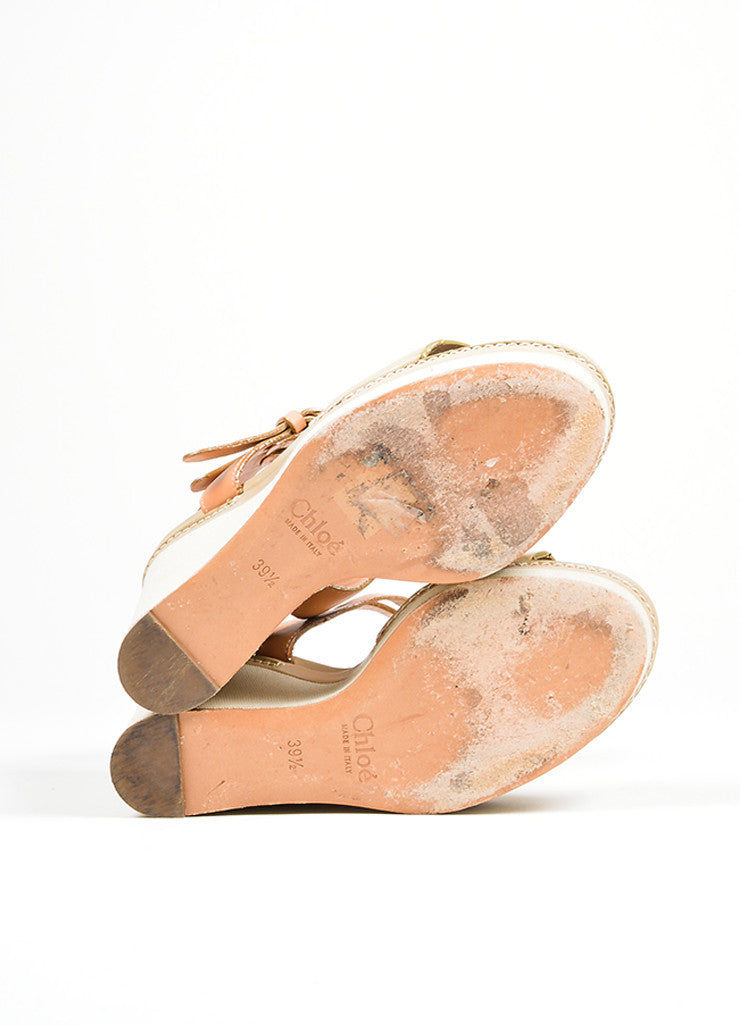 "Taupe Chloe Leather and Canvas Sandal Platform ""Groove"" Wedges Outsoles"