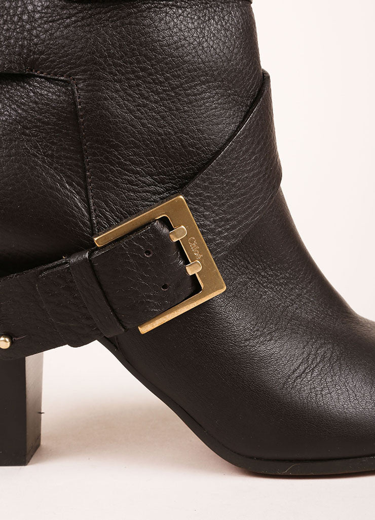 Chloe Dark Brown Leather Harness Mid Calf Boots Detail