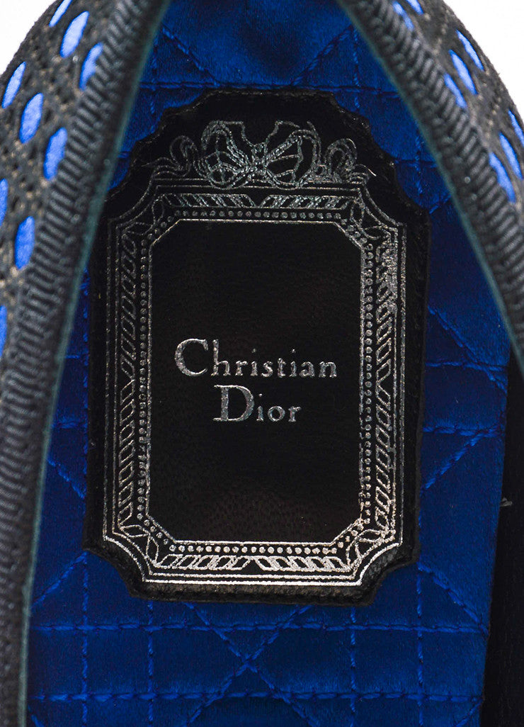 "Black and Blue Christian Dior Satin Suede ""Cannage"" Loafers Brand"