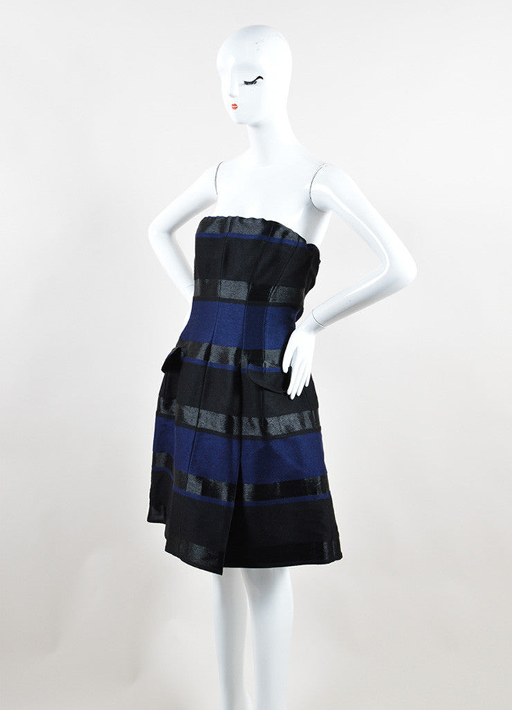 Christian Dior Navy Blue and Black Wool Striped Strapless Dress Sideview